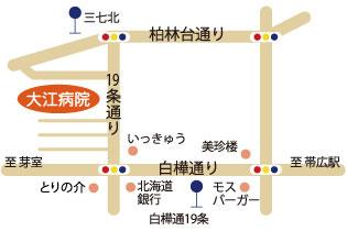 大江病院までの地図
